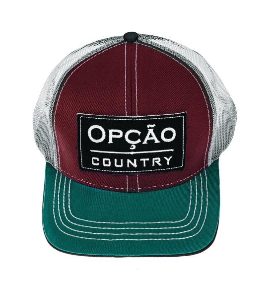 fe9633cde5a66 Boné Vermelho Verde Opção Country - OPÇÃO CINTOS